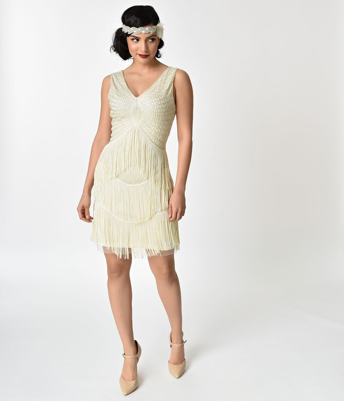1920s Evening Dresses & Formal Gowns Unique Vintage 1920S Ivory  Silver Beaded Renee Fringe Cocktail Dress $22.00 AT vintagedancer.com