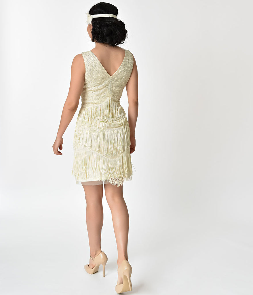 Unique Vintage 1920s Ivory & Silver Beaded Renee Fringe Cocktail Dress