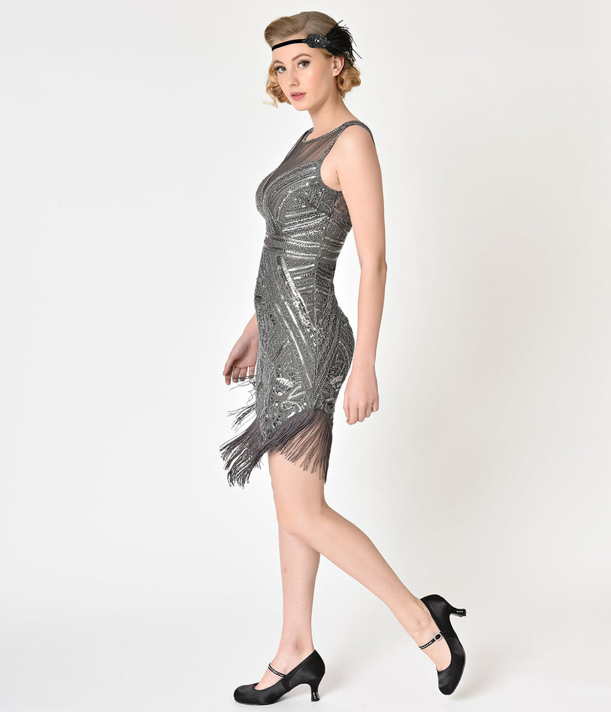 1920s Style Grey Beaded & Sequin Illusion Neckline Flapper Dress