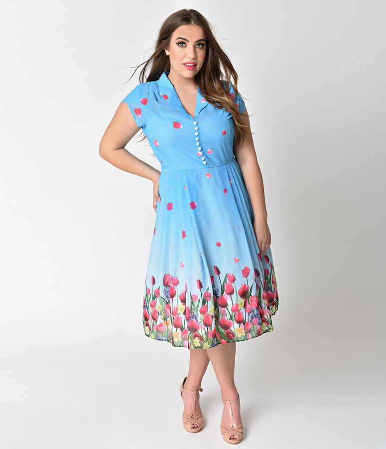 Hell Bunny Plus Size Blue Tulip Print Bethany Chiffon Swing Dress