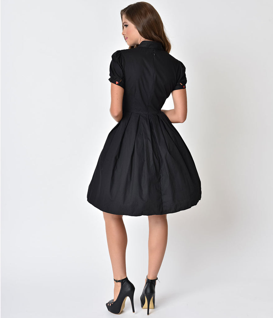 Hell Bunny Black Embroidered Arrowed Hearts Amora Swing Dress