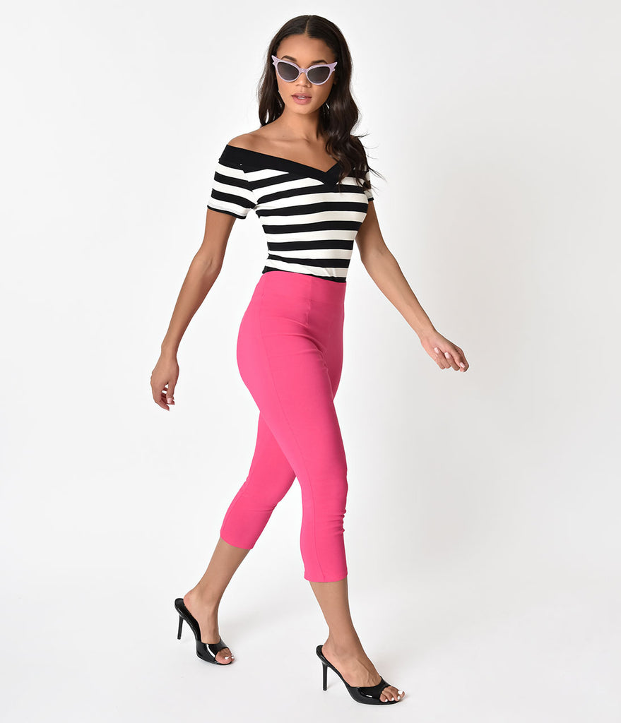 Hell Bunny Retro Style Hot Pink Tina High Waist Stretch Capri Pants
