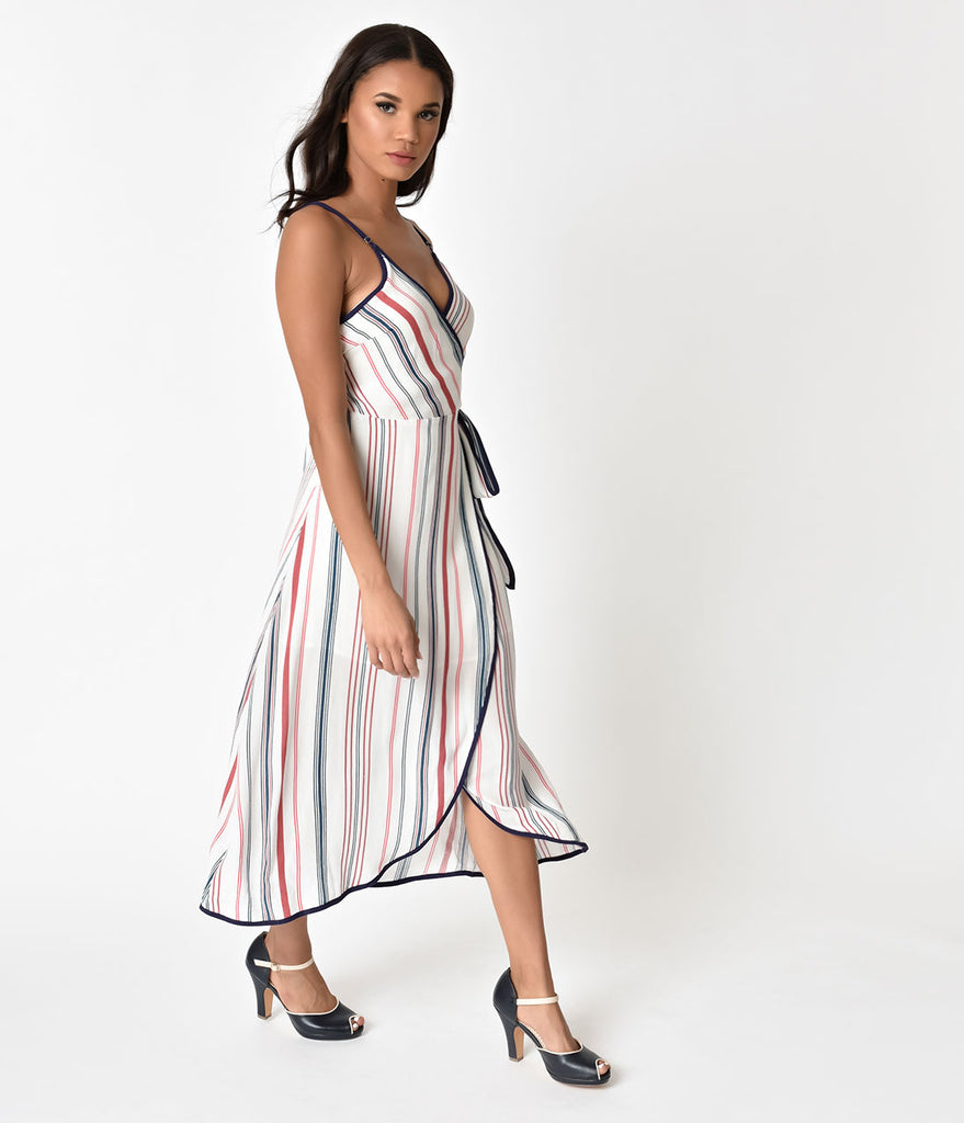 Retro Style White & Multicolor Striped Wrap Dress