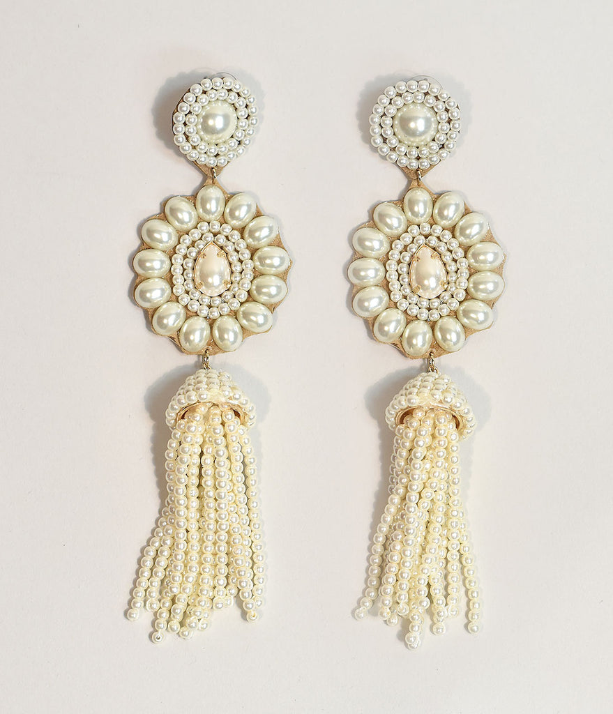 Ivory Pearls & Leather Drop Fringe Earrings