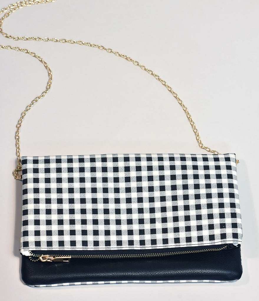 Vintage Style Black & White Gingham Fold Over Clutch