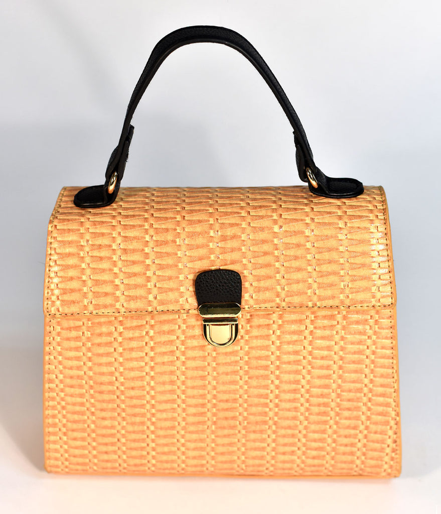 Tan Leatherette Wicker Pattern Crossbody Purse