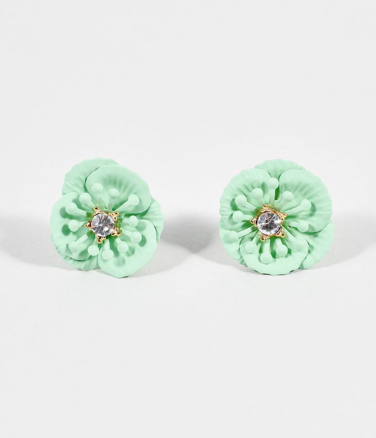 Mint Flower & Rhinestone Post Earrings
