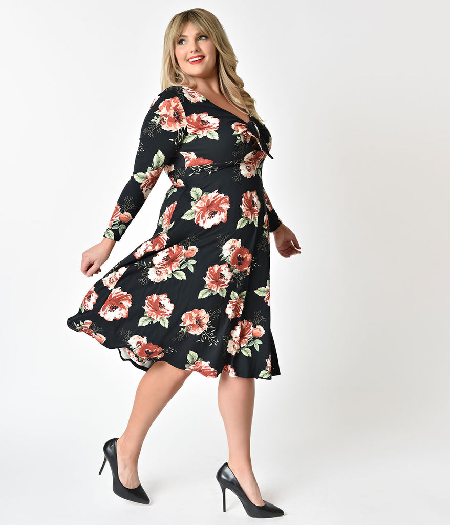 Plus Size Black Floral Tie Cut Out Long Sleeve Swing Dress