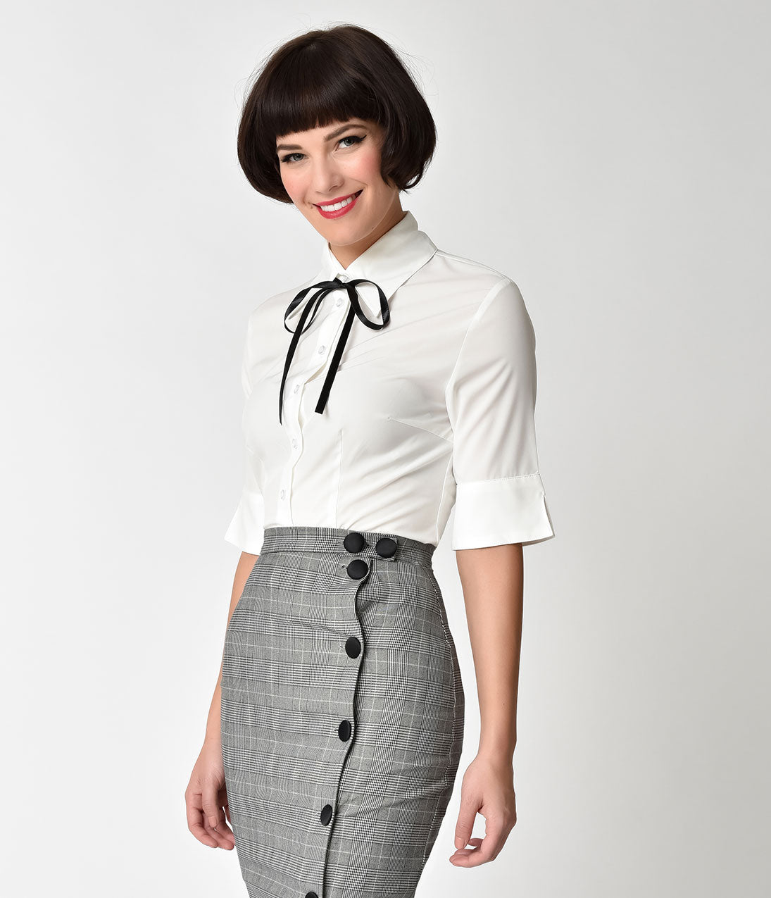1950s Rockabilly & Pin Up Tops, Blouses, Shirts White  Black Tie Front Lori Ann Button Up Blouse $62.00 AT vintagedancer.com