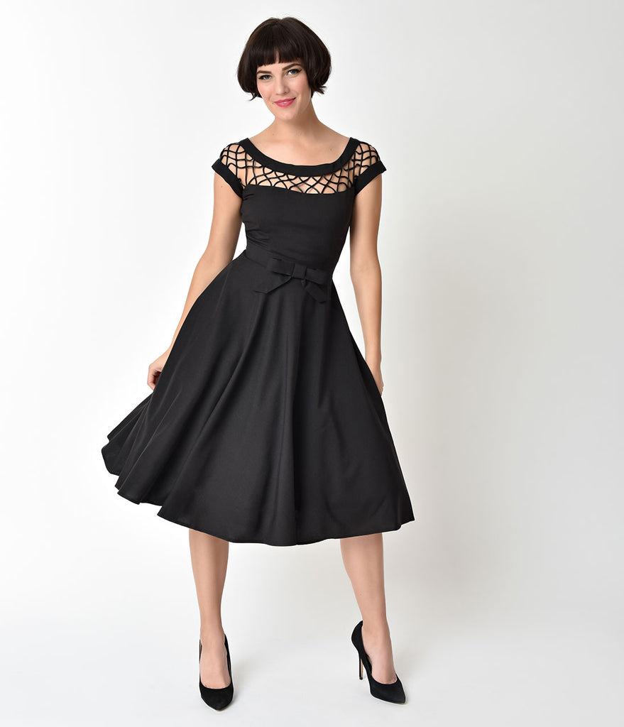 Black Lattice Neckline Alika Swing Dress