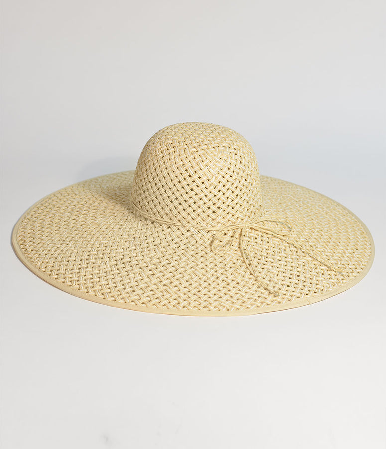 Light Beige Woven Straw Sun Hat