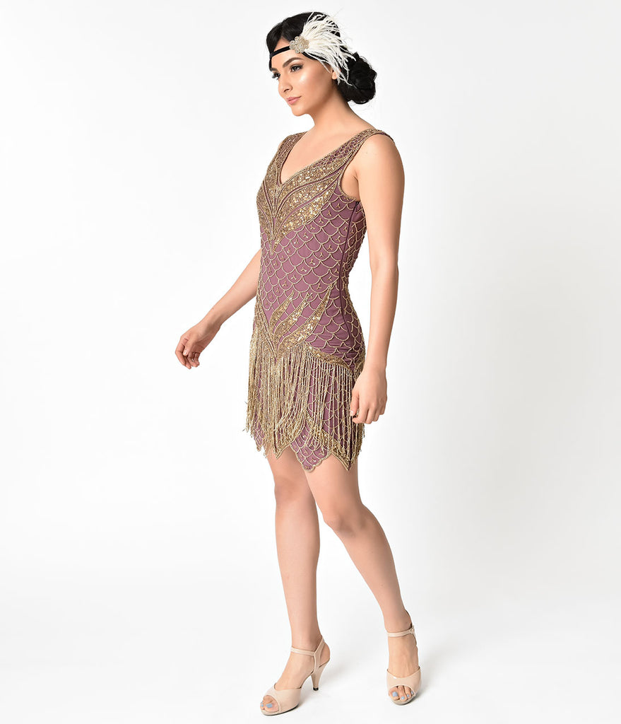 Unique Vintage 1920s Dusty Purple & Antique Gold Beaded Bayou Flapper Dress