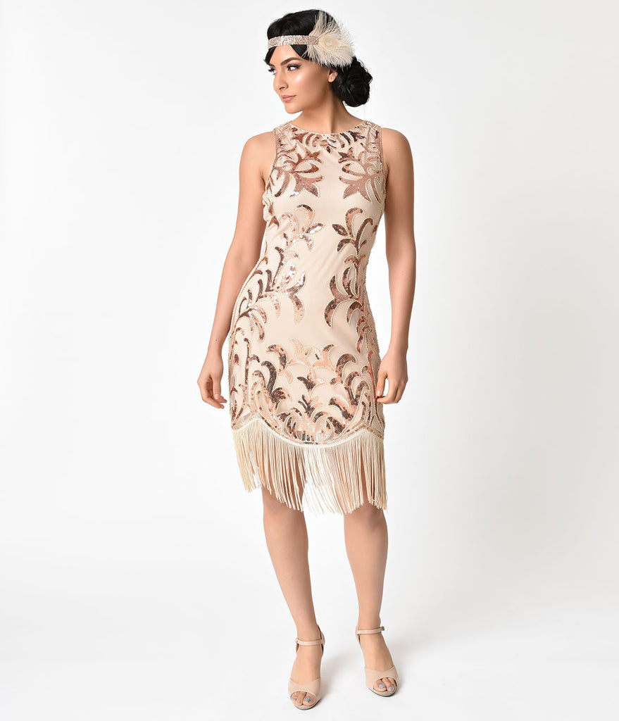 Unique Vintage 1920s Rose Gold Sequin Nikita Flapper Dress
