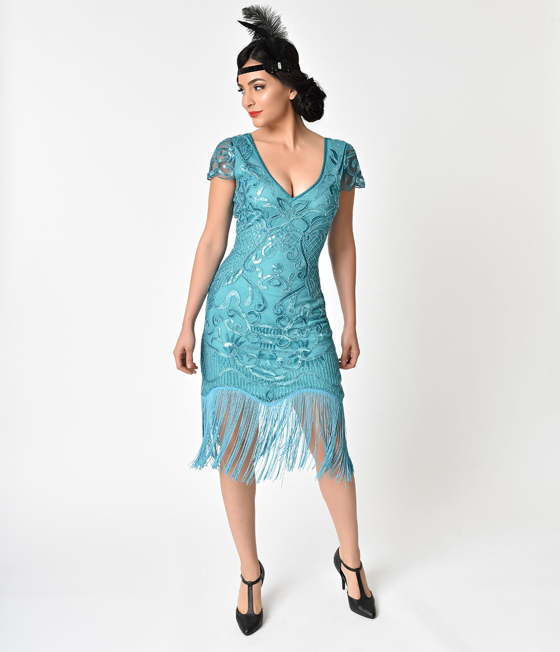 Roaring 20s Costumes- Flapper Costumes, Gangster Costumes 1920S Style Turquoise Beaded Fringe Aurore Flapper Dress $98.00 AT vintagedancer.com