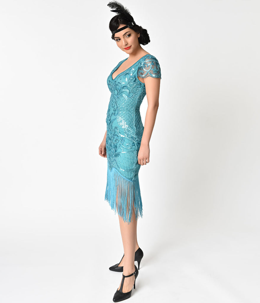 Unique Vintage 1920s Style Turquoise Beaded Fringe Aurore Flapper Dress