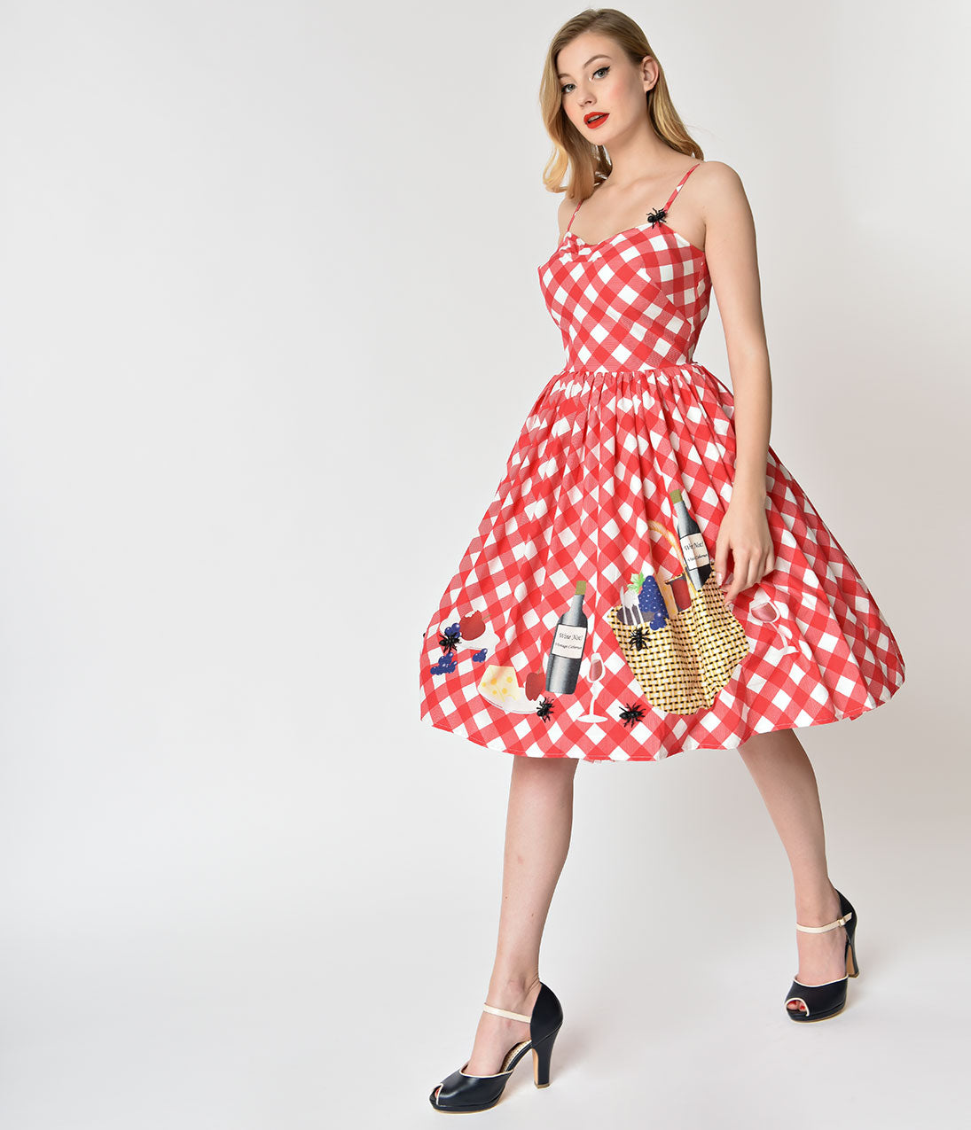 Pin Up Dresses | Pinup Clothing & Fashion Unique Vintage 1950S Style Red  White Checkered Picnic Blanket Darcy Swing Dress $118.00 AT vintagedancer.com