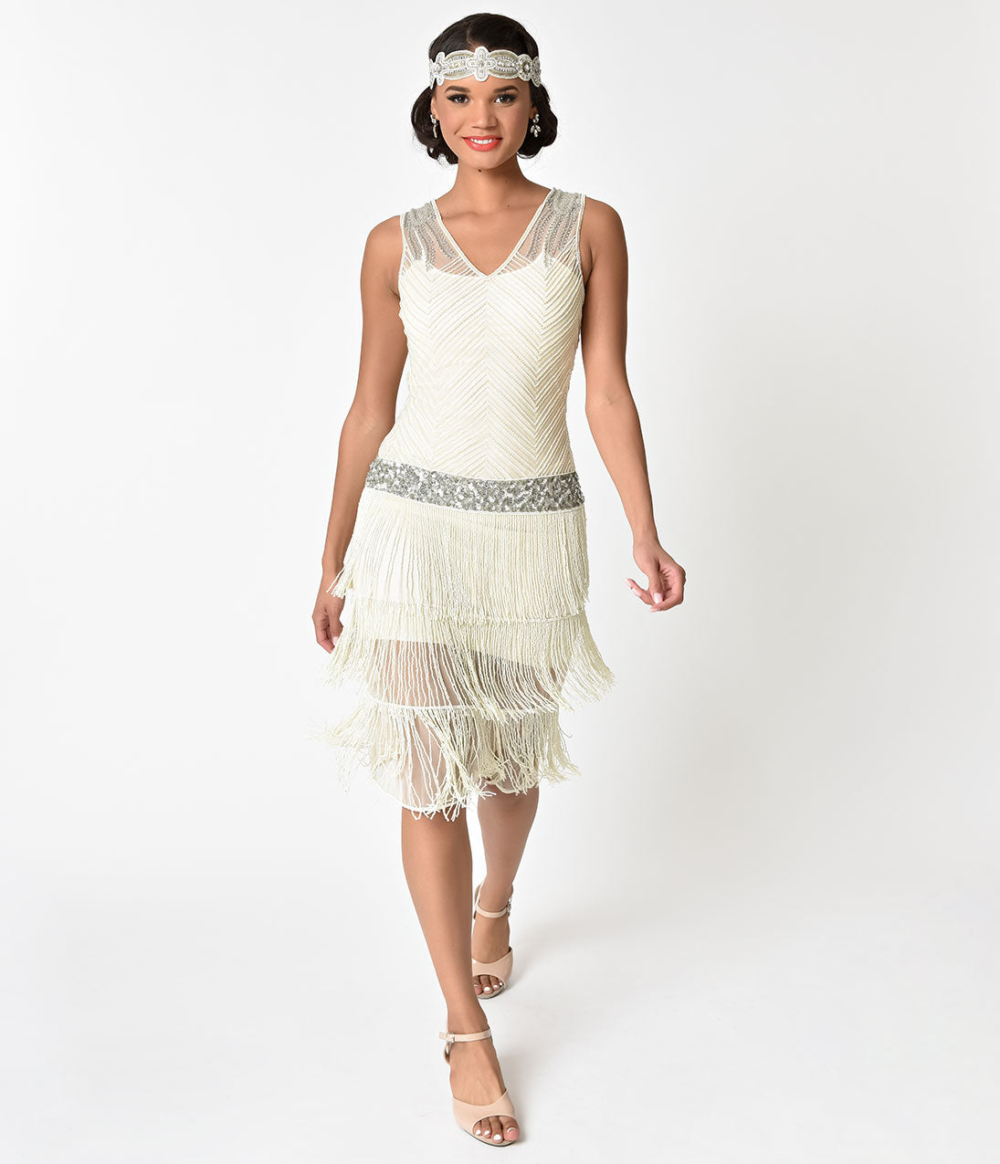 Vintage Inspired Wedding Dress | Vintage Style Wedding Dresses Unique Vintage 1920S Ivory Beaded Fringe Rosedale Cocktail Dress $268.00 AT vintagedancer.com