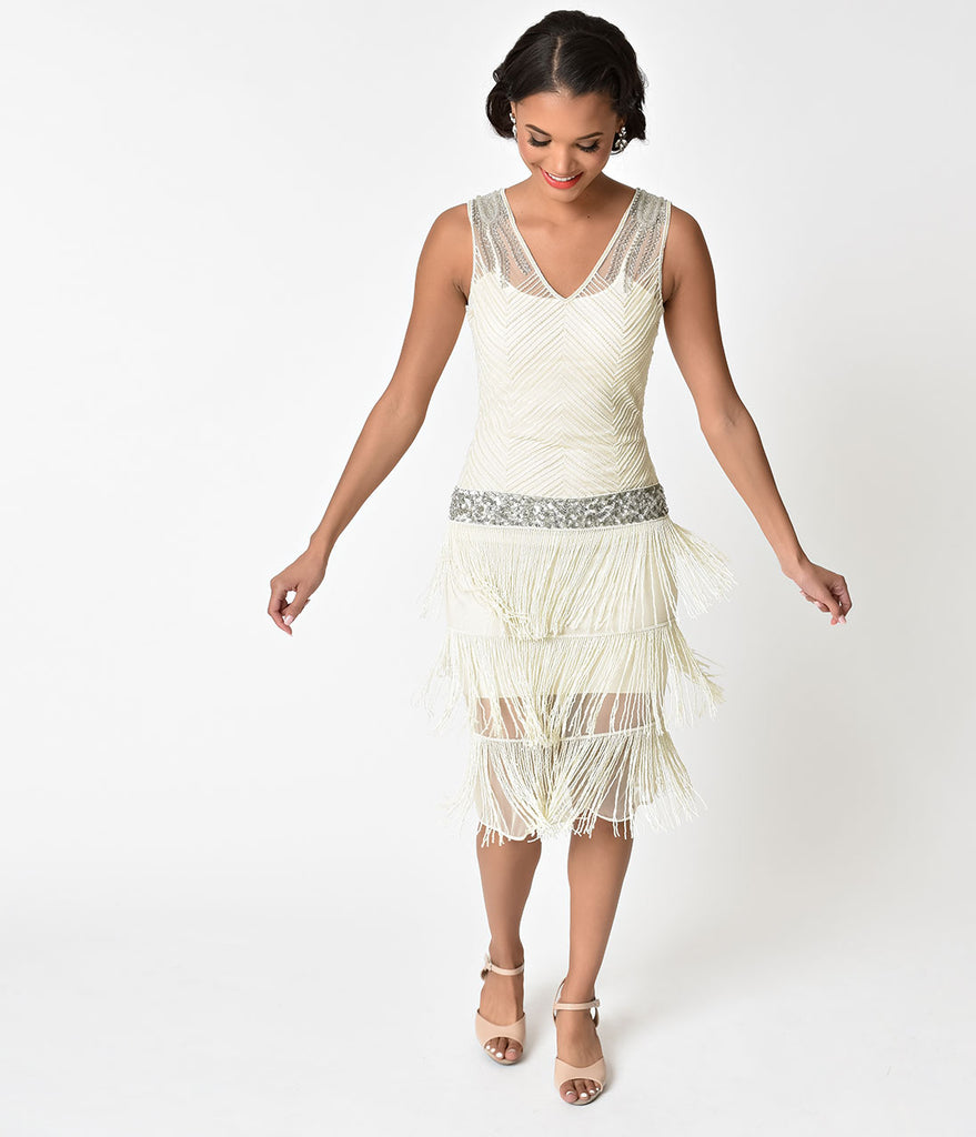 Unique Vintage 1920s Ivory Beaded Fringe Rosedale Cocktail Dress