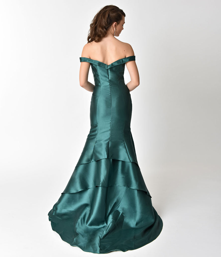 Luminous Deep Green Mermaid Style Bateau Prom Gown – Unique Vintage