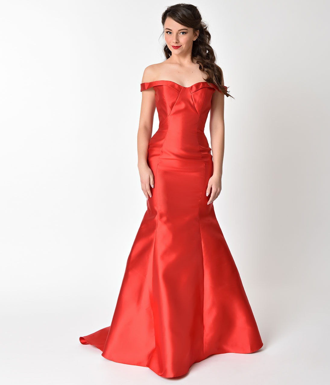 Vintage Evening Dresses and Formal Evening Gowns Luminous Red Mermaid Style Bateau Prom Gown $168.00 AT vintagedancer.com