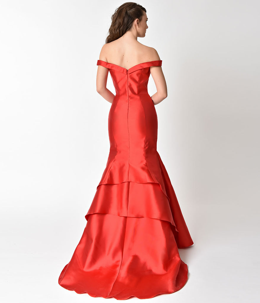 Luminous Red Mermaid Style Bateau Prom Gown