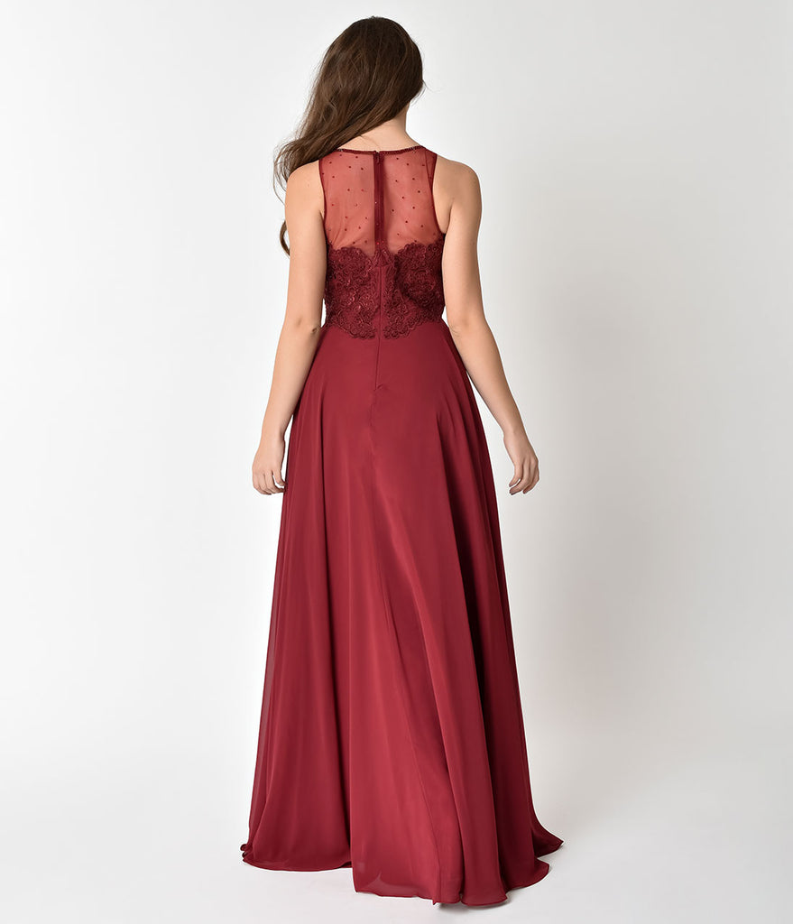 Burgundy Red Chiffon Embellished Illusion Neckline Gown