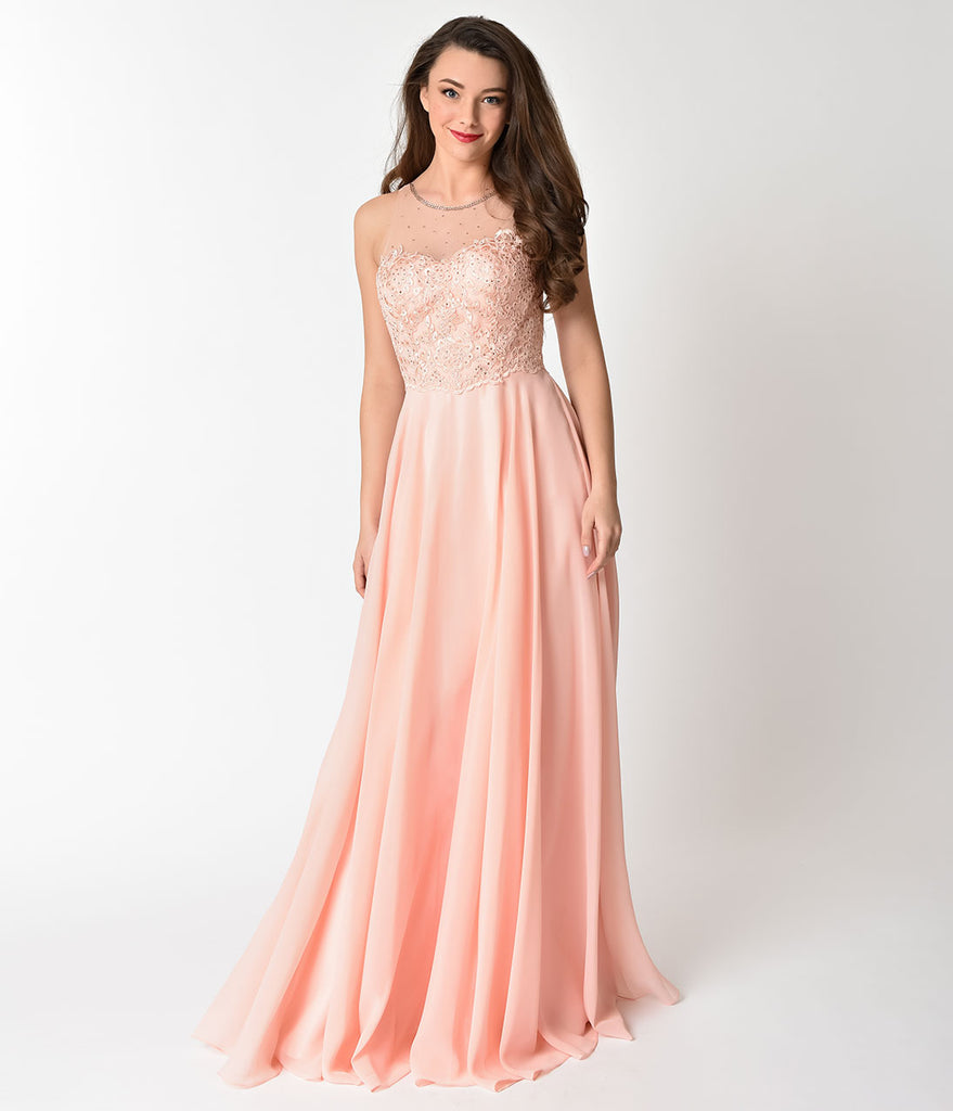 Blush Pink Chiffon Embellished Illusion Neckline Gown