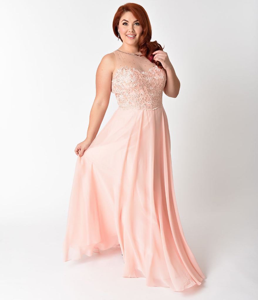 Plus Size Blush Pink Chiffon Embellished Illusion Neckline Gown