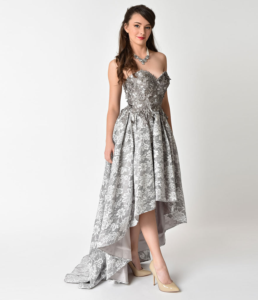 Grey Lace Embellished Strapless High Low Formal Gown