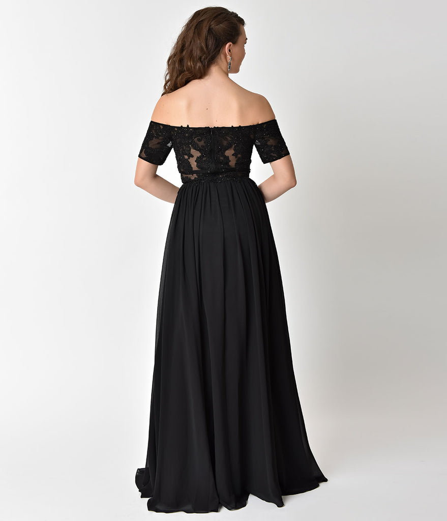 Black Off The Shoulder Embellished Sleeved Chiffon Long Dress