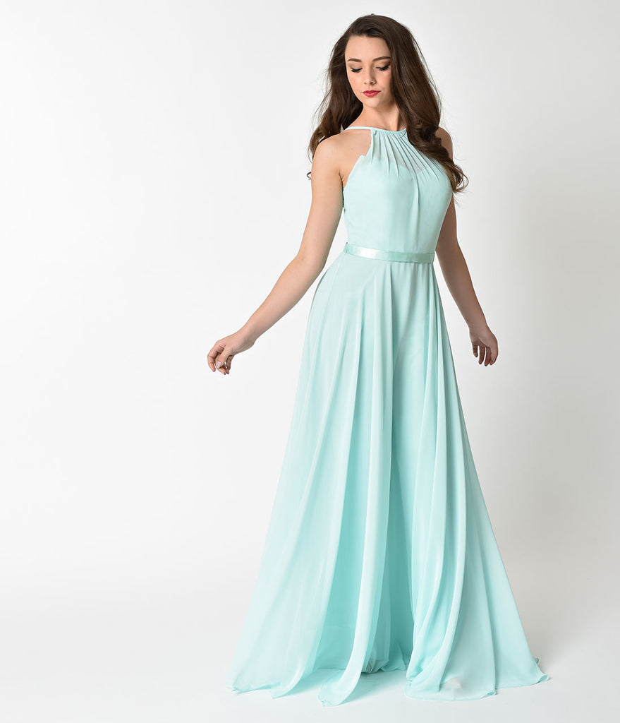 Mint Halter Chiffon Sleeveless Long Formal Gown