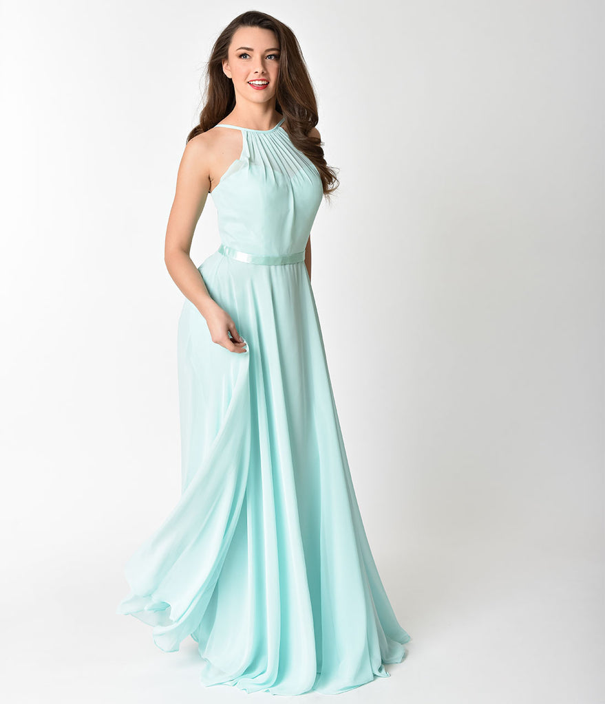 Mint Halter Chiffon Sleeveless Long Formal Gown – Unique Vintage