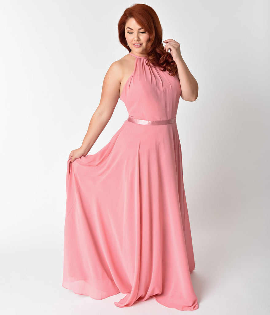 Pink Chiffon Sleeveless Dress