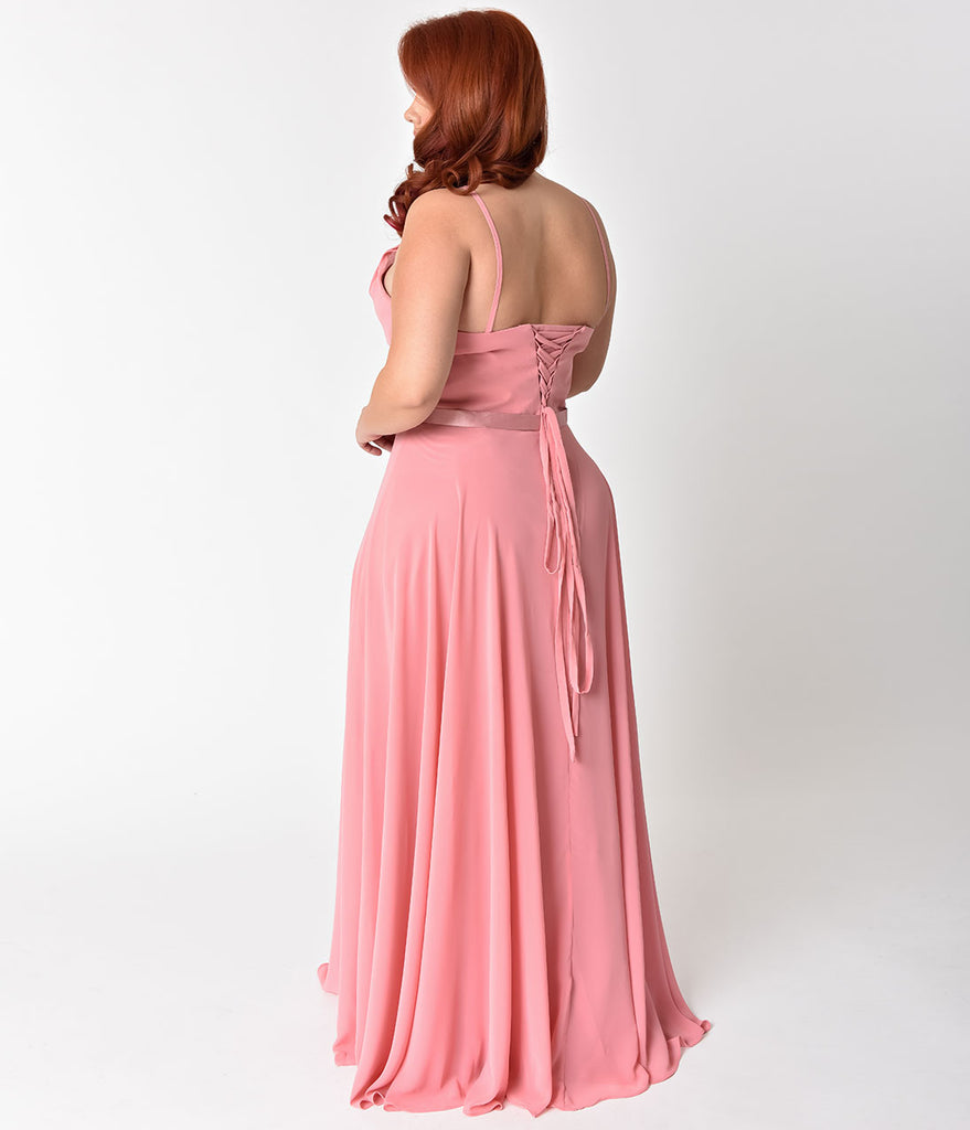 Plus Size Rose Pink Halter Chiffon Sleeveless Long Formal Gown