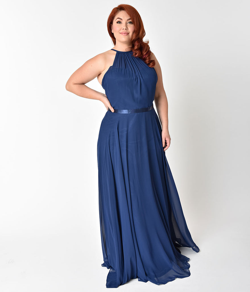 Plus Size Navy Blue Halter Chiffon Sleeveless Long Formal Gown ...