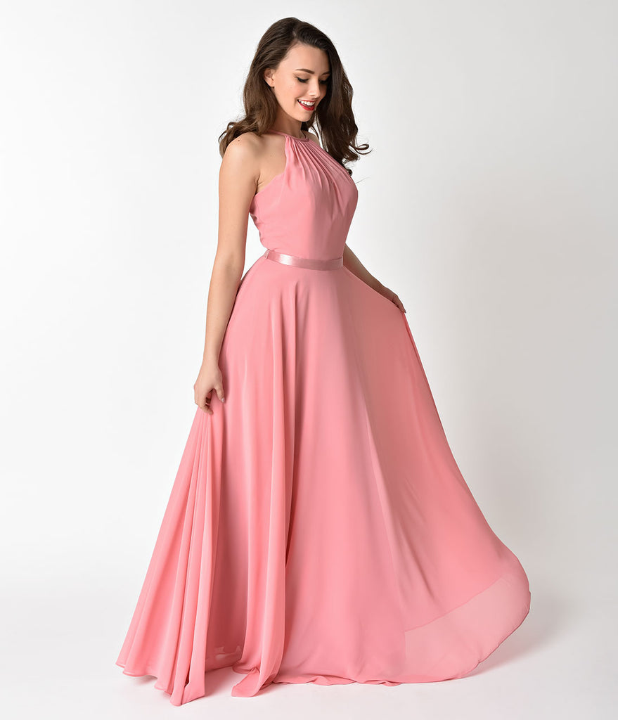 Rose Pink Halter Chiffon Sleeveless Long Formal Gown