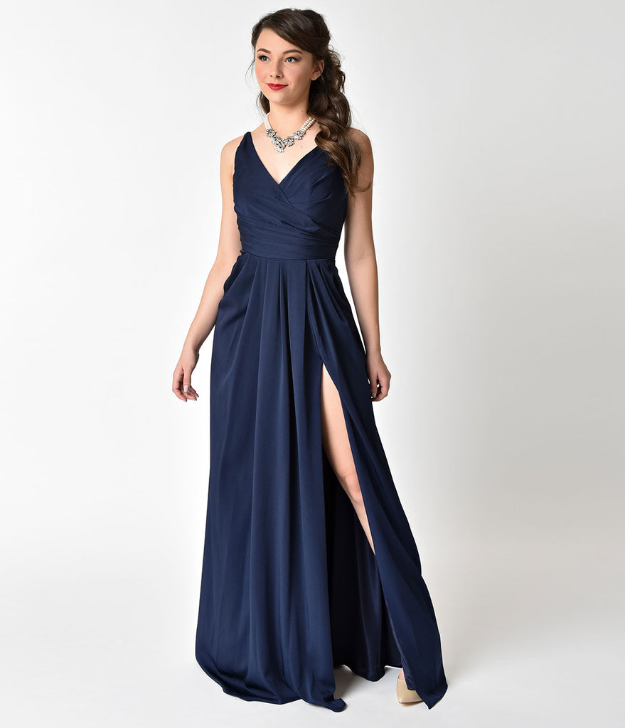 Navy Blue Sleeveless Pleated Split Long Dress