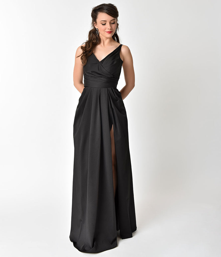 Black Sleeveless Pleated Split Long Dress