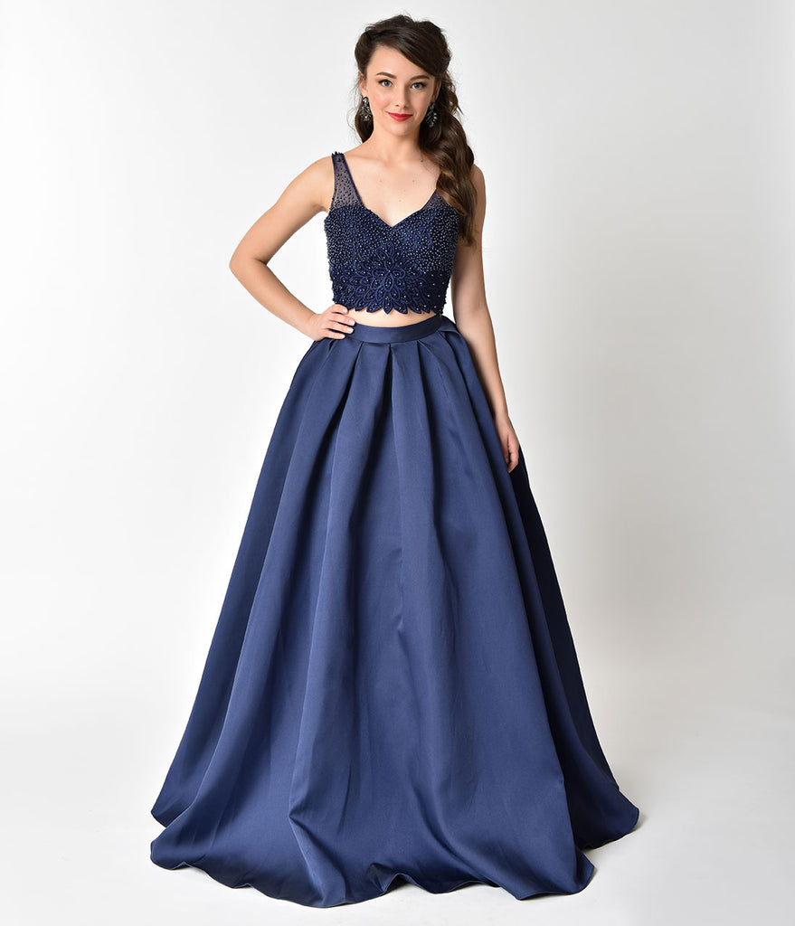 Navy Blue Beaded Crop Top Two Piece Formal Gown – Unique Vintage
