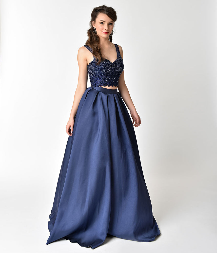 Navy Blue Beaded Crop Top Two Piece Formal Gown