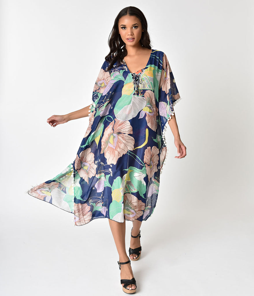 Retro Style Blue & Tropical Floral Kaftan Silk Coverup
