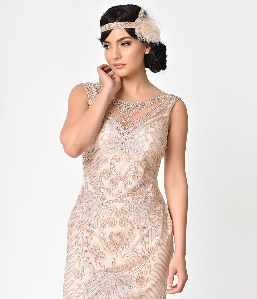 Champagne Embroidered & Beaded V-Neck Mesh Cocktail Dress – Unique ...