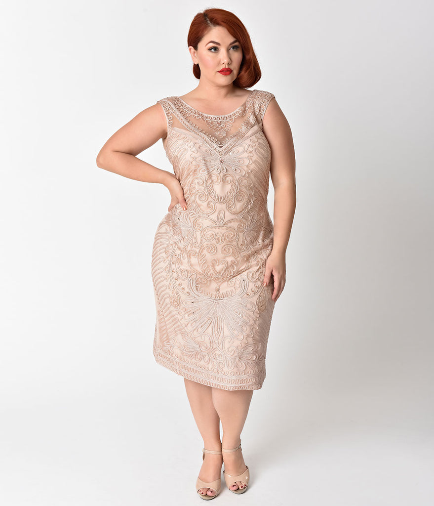 Plus Size Champagne Embroidered & Beaded V-Neck Mesh Cocktail Dress ...