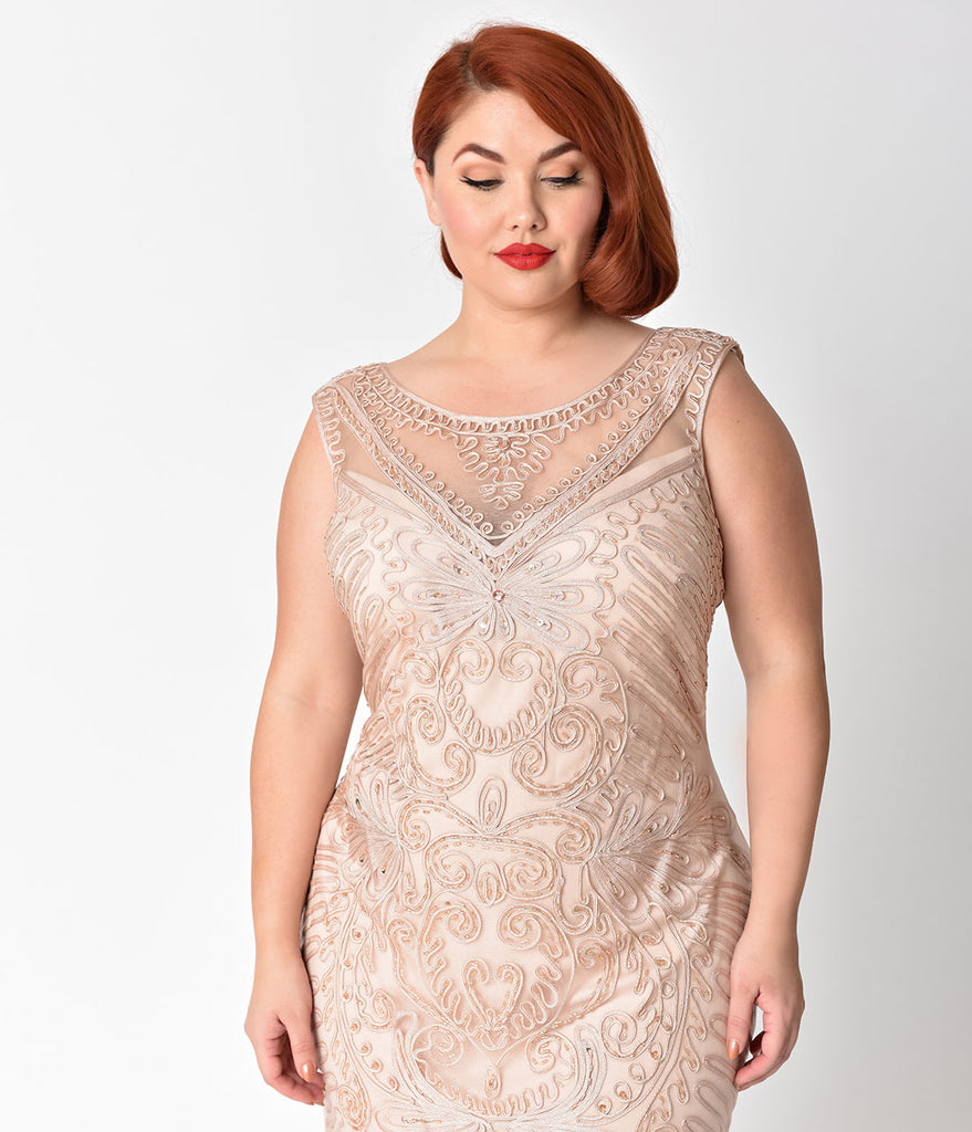 a6c483bff8b ... Plus Size Champagne Embroidered   Beaded V-Neck Mesh Cocktail Dress ...