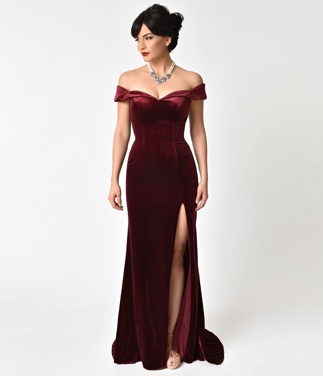 1940s Evening, Prom, Party, Cocktail Dresses & Ball Gowns Burgundy Velvet Bateau Neckline Cap Sleeve Gown $180.00 AT vintagedancer.com