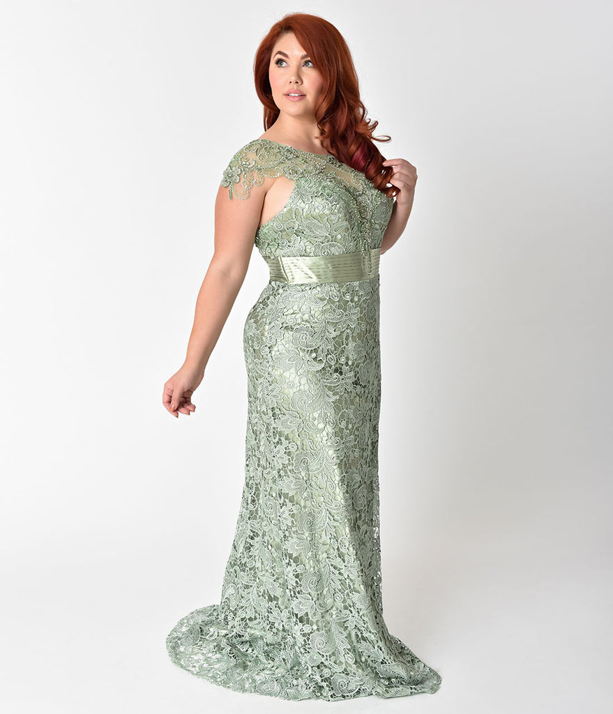 Plus Size Sage Green Lace & Satin Belted Embellished Prom Gown