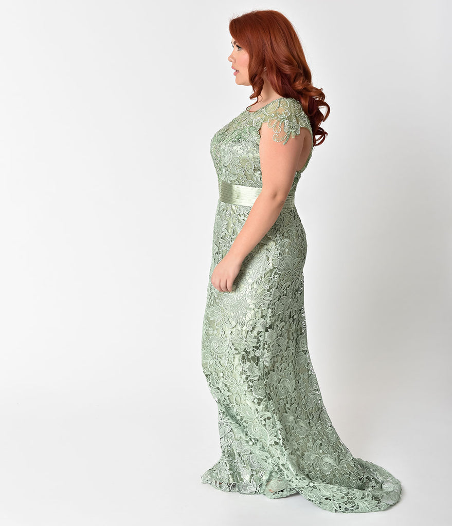 24d6cd96c46d4 ... Plus Size Sage Green Lace   Satin Belted Embellished Prom Gown ...