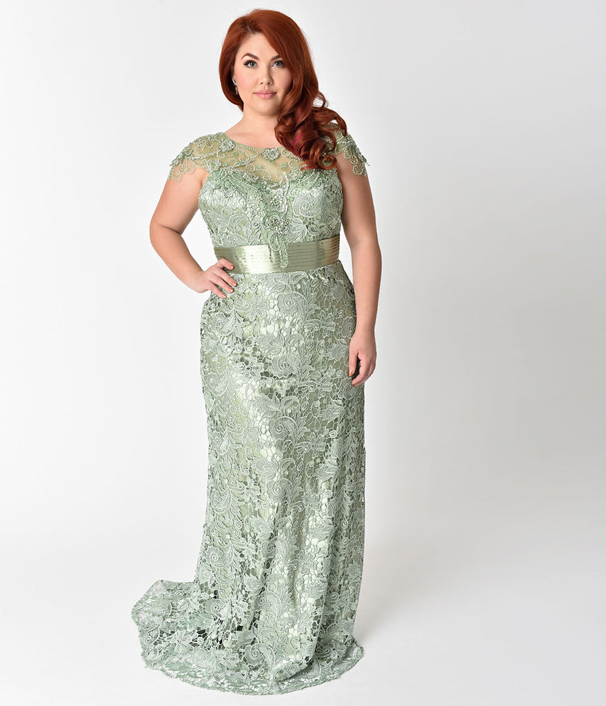 Plus Size Sage Green Lace Satin Belted Embellished Prom Gown