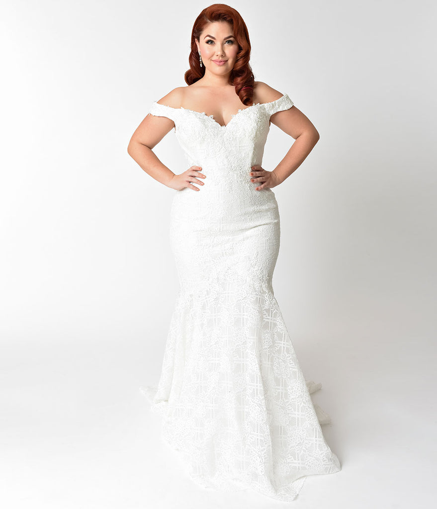 Plus Size Ivory Floral Lace Pearl Beaded Mermaid Wedding Gown ...