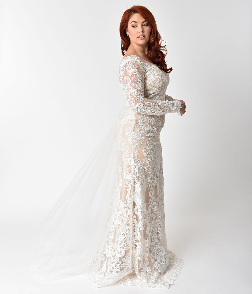 Short lace and mesh dress with illusion neckline